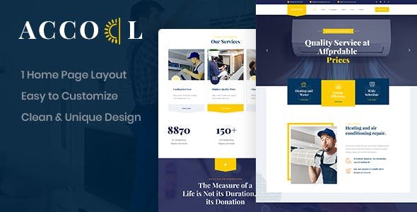 Acool - Air Conditioning PSD Template