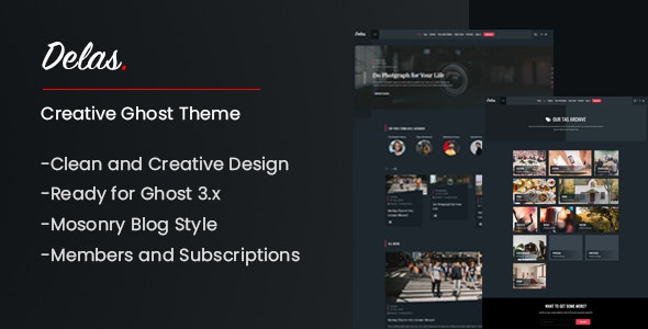 Delas -  Creative Ghost Portfolio and Magazine Theme - Ghost Themes Blogging