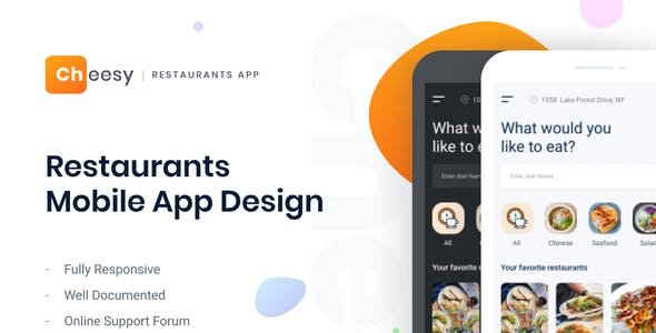 Cheesy | Restaurant and Food Delivery Mobile App Figma Template