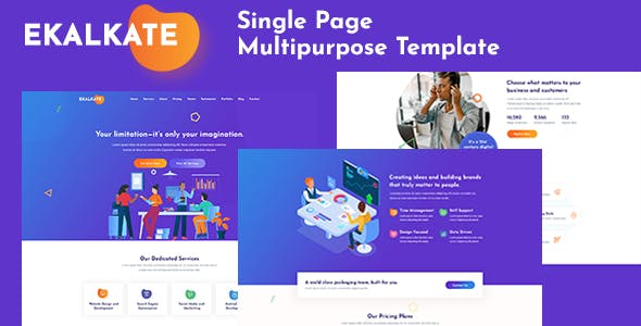 Ekalkate - A Multipurpose Single Page PSD Template