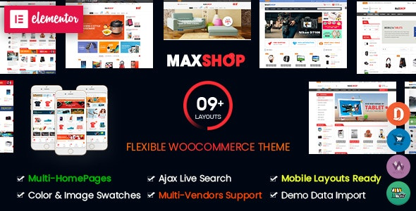 MaxShop - Multi-Purpose Responsive Elementor WooCommerce WordPress Theme (Mobile Layouts Ready) - WooCommerce eCommerce