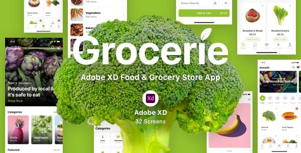 Grocerie - Adobe XD Food & Grocery Store App