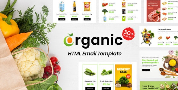 Grocery - Multipurpose Responsive Email Template 30+ Modules Mailchimp - Newsletters Email Templates