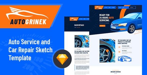 Autogrinek - Auto Service and Car Repair Sketch Template - Business Corporate
