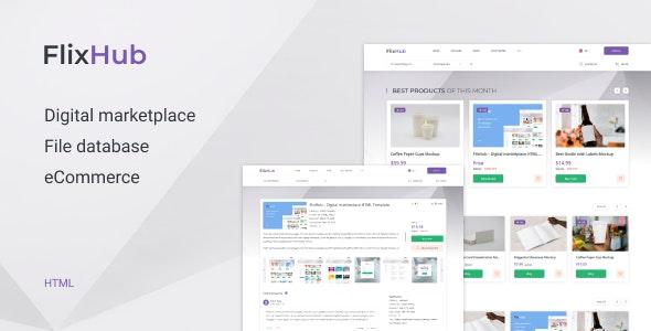FlixHub – Digital Marketplace HTML Template - Retail Site Templates