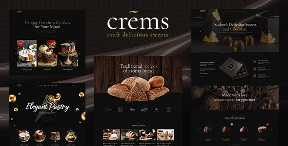 Crems - Bakery, Chocolate Sweets & Pastry WordPress Theme - Food Retail