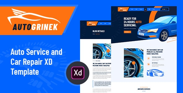 Autogrinek - Auto Service and Car Repair XD Template - Business Corporate