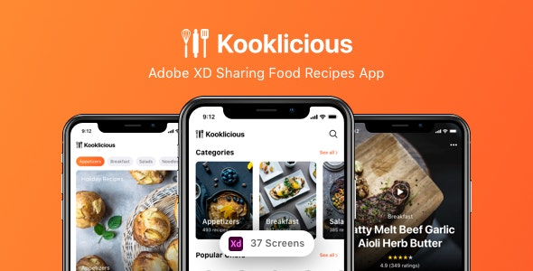 Kooklicious - Adobe XD Sharing Food Recipes App - Miscellaneous Adobe XD