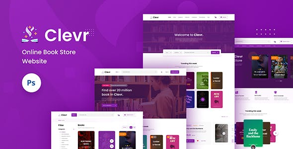 Clevr - Book Store Ecommerce Website PSD Template