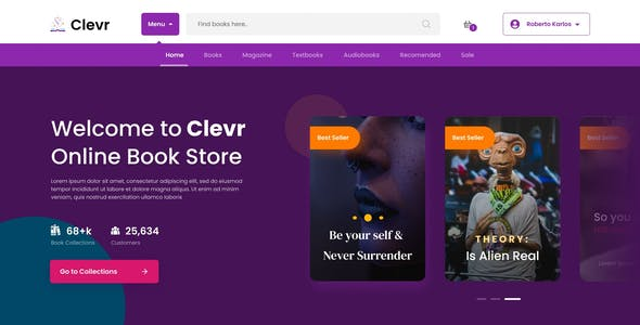Clevr - Book Store Ecommerce Website Figma Template