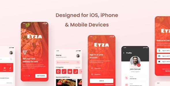 Etza - Pizza Food Order iOS App Design Figma Template