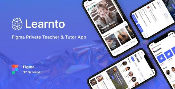 Learnto - Figma Private Teacher & Tutor App - Business Corporate