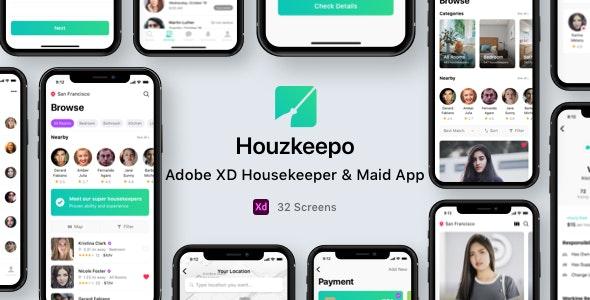 Houzkeepo - Adobe XD Housekeeper & Maid App - Business Corporate