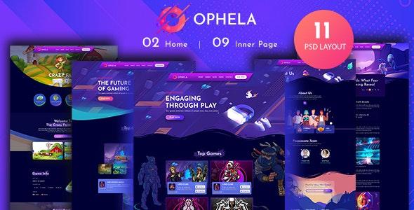 Ophela - Gaming Studio PSD Template - Entertainment Figma