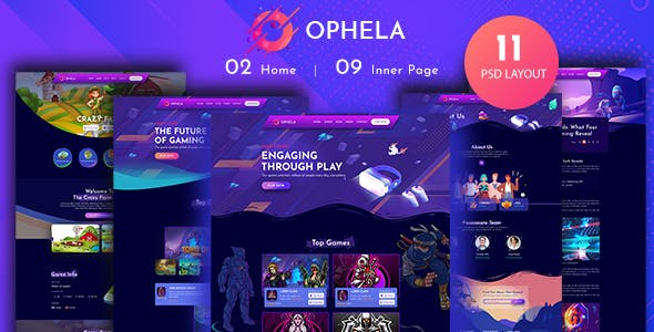 Ophela - Gaming Studio PSD Template