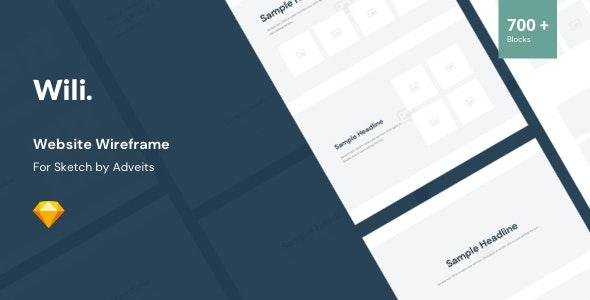 Wili - Website Wireframe for Sketch - Sketch UI Templates