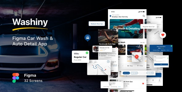 Washiny - Figma Car Wash & Auto Detail App - Business Corporate