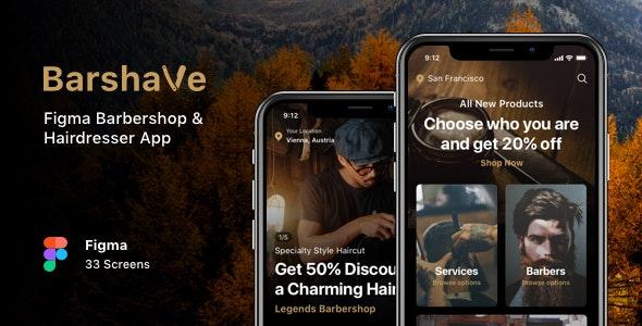 Barshave - Figma Barbershop & Hairdresser App - Business Corporate