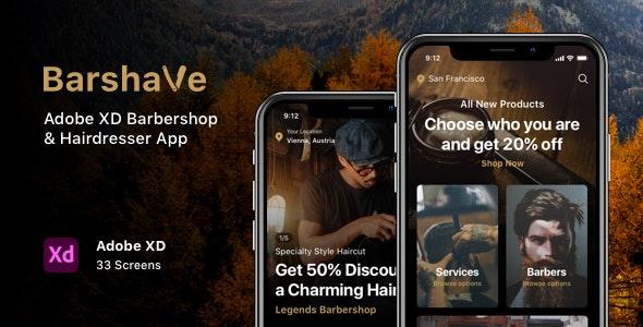 Barshave - Adobe XD Barbershop & Hairdresser App - Business Corporate