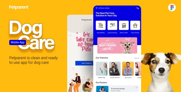 Petparent | A Dog Care Mobile App and Landing page Figma Template - Business Corporate