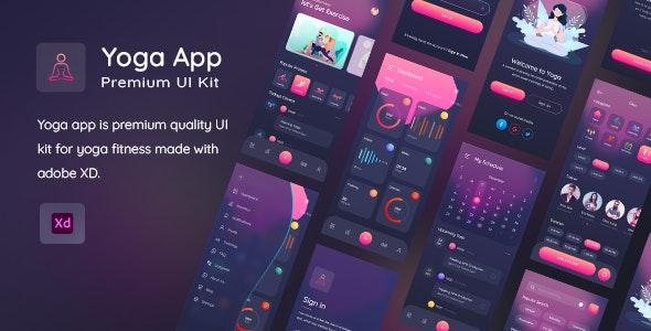 Yogaa App Premium UI Kit For XD - Adobe XD UI Templates