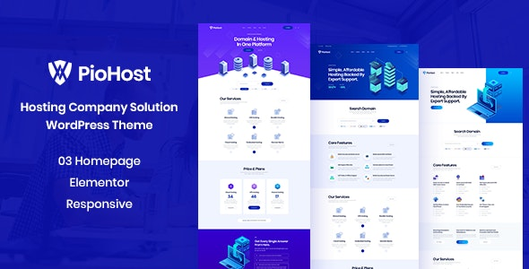 Piohost - Domain and Web Hosting WordPress Theme - Hosting Technology