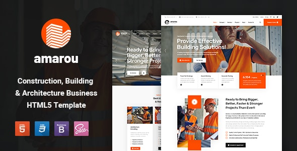 Amarou - Construction and Building HTML5 Template - Business Corporate