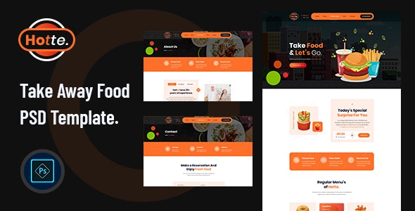 Hotte - Take Away Food PSD Template - Restaurants & Cafes Entertainment