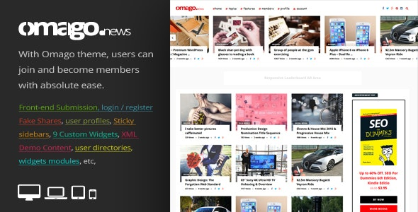 Omago News - User Profile Membership & Content Sharing Theme - News / Editorial Blog / Magazine