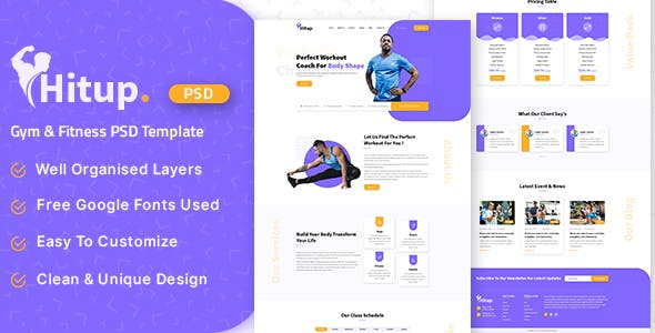 Hitup - Fitness and Gym PSD Template
