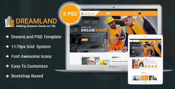 Dreamland - Construction PSD Template