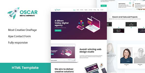 Oscar - One Page Corporate, App, Startup Responsive HTML Template