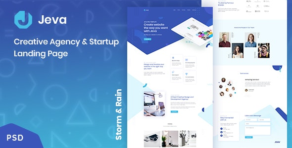 Jeva - Creative Agency & Startup Landing Page - Creative Photoshop