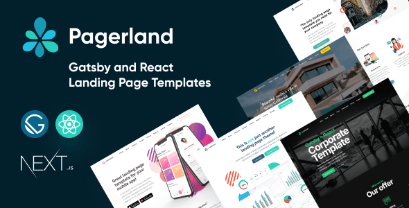 Pagerland - React and Gatsby Landing Page Templates - Site Templates