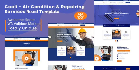 Download Cooli - Air Conditioning & Repiring Services React Template