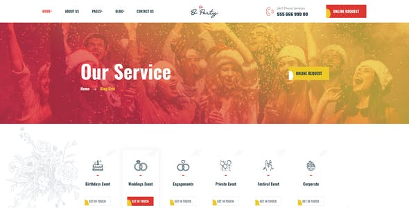 Bparty - Wedding  & Event Planner PSD Template