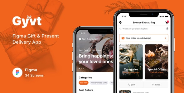 Gyvt - Figma Gift & Present Delivery App - Shopping Retail