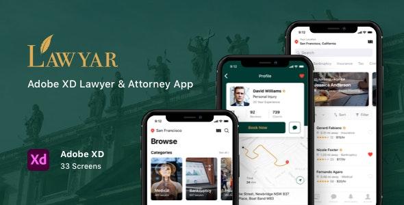 Lawyar - Adobe XD Lawyer & Attorney App - Business Corporate