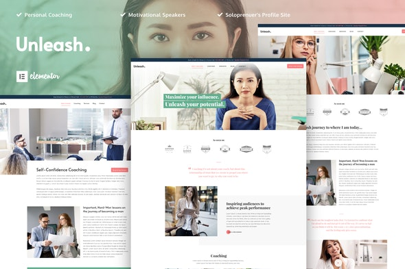 Unleash - Life Coach Template Kit - Business & Services Elementor