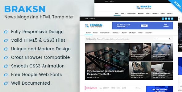 Braksn - News Magazine HTML Template - Entertainment Site Templates