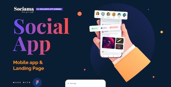 Sociama   Social Media Mobile App and LandingPage Figma Template