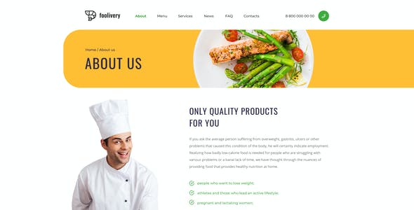 Foolivery – Health Food Template for Figma