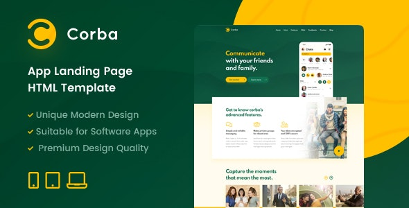 Corba – App Landing Page HTML Template - Software Technology