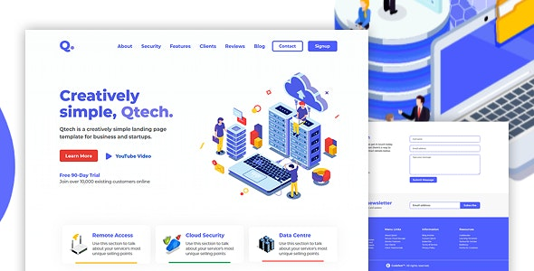 QTECH - Multi-Purpose HTML Landing Page Template for Business and Startups - Corporate Landing Pages