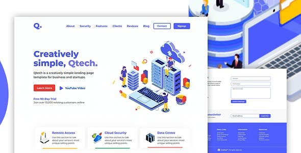 QTECH - Multi-Purpose HTML Landing Page Template for Business and Startups