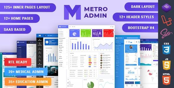 MetroAdmin - Bootstrap, Laravel & React Admin Dashboard