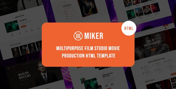 Download Miker - Movie and Film Studio HTML5 Template