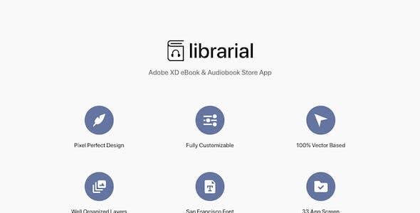 Librarial - Adobe XD eBook & Audiobook Store App