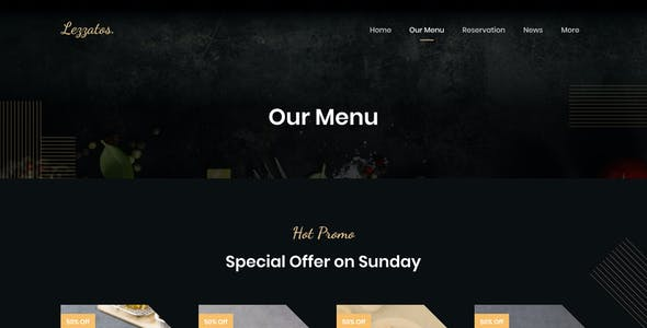 Lezzatos | Restaurant and Cafe for Figma