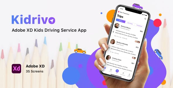 Kidrivo - Adobe XD Kids Driving Service App